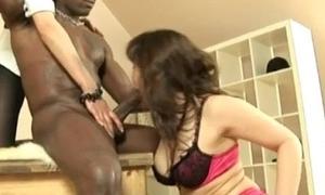 Matured stocking slut interracial oral threesome