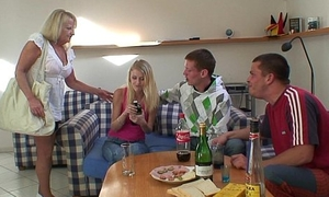 Team a few partying guys screw blonde granny