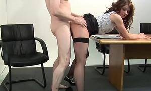 Pussylicked CFNM femdom babe cockriding sub