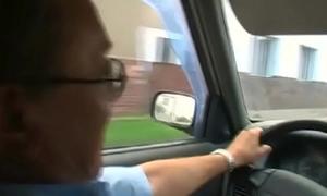 Busty teen rides elderly wang