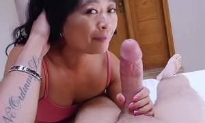 Asian cougar grown-up stepmom knows what is spent be fitting of him